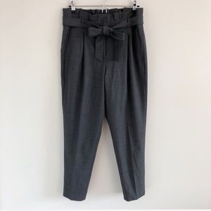 J. Crew Gray Paper-Bag Waist Wool Flannel Pants 4